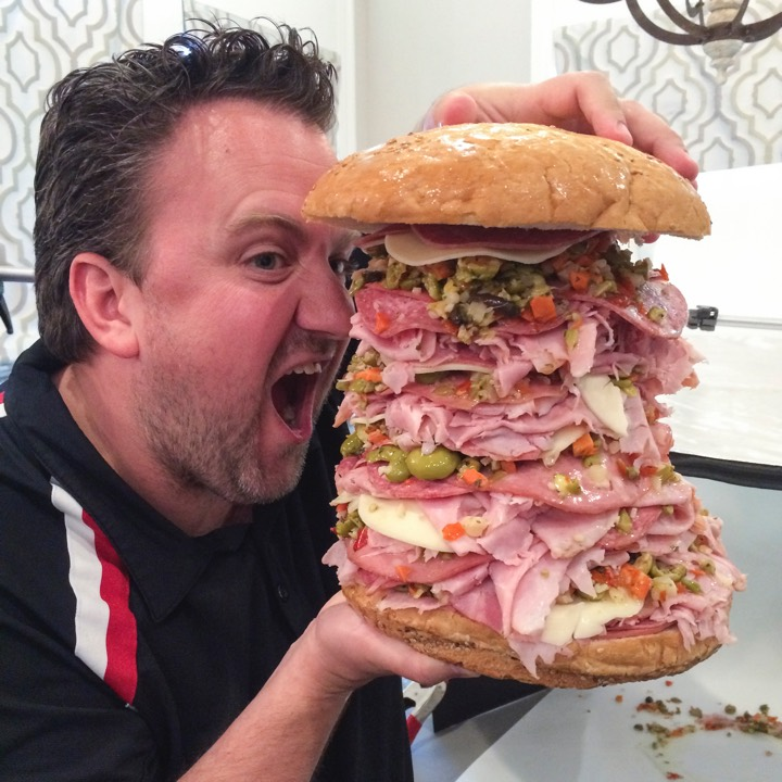 Jay with a Giant Muffaletta